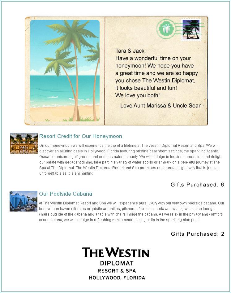 Wedding Gift List Website : The Westin Diplomat Resort & Spa Honeymoon Registry